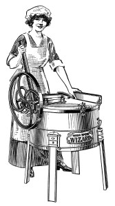 antique washing machine, vintage clothes washer, old fashioned laundry, vintage clipart housework, black and white clip art,