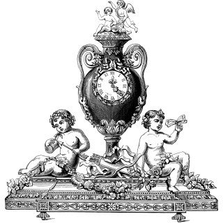 Antique Ornamental Clock Engraving ~ Free Clip Art