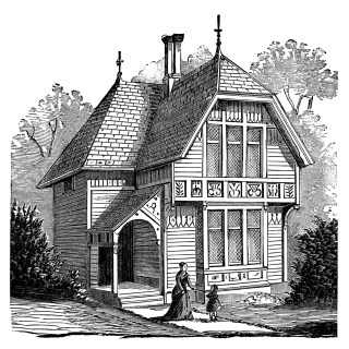 Two Story Victorian Cottage ~ Free Clip Art Image