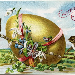 Bunnies and Large Decorated Egg ~ Free Vintage Easter Postcard Image