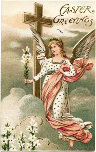 vintage easter postcard, angel card, old fashioned postcard graphic, printable easter, christian holiday image