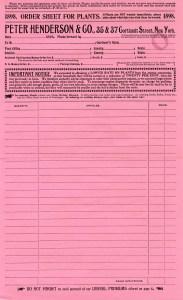 free vintage ephemera, pink order form, peter henderson & co, antique invoice printable