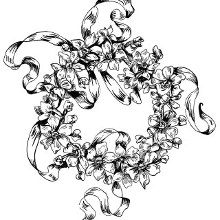 Ornamental Flowers and Ribbon Design ~ Free Clip Art