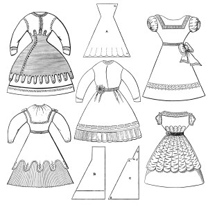 Victorian girls dress, old fashioned clothes, vintage clothing clipart, black and white clip art