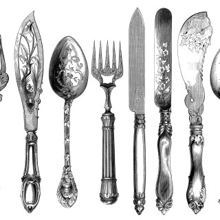 Antique Cutlery Engravings Set 2 ~ Free Clip Art