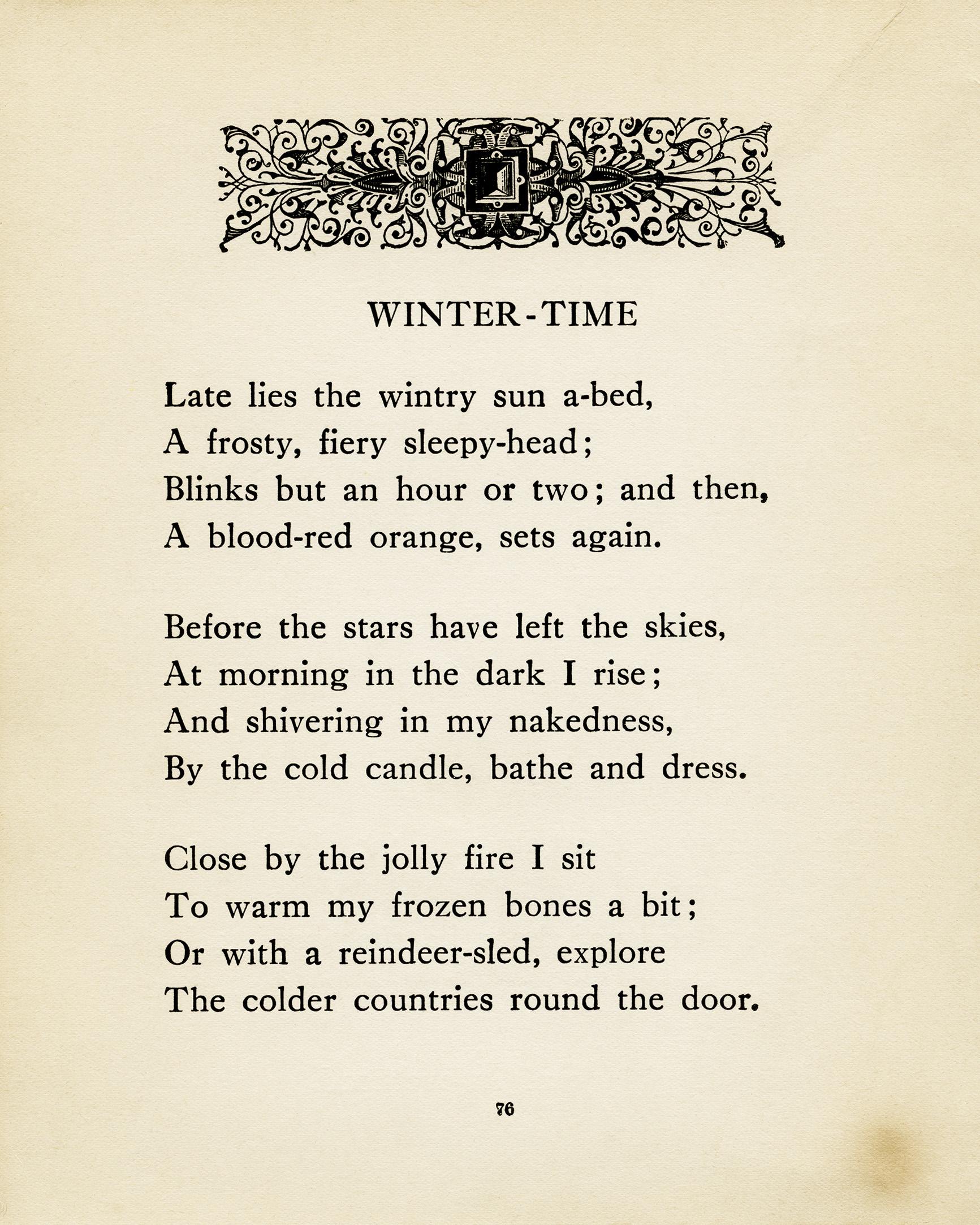 winter time free vintage poem and clip art old design