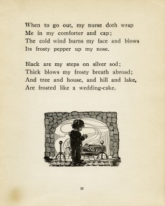 winter time poem, vintage poetry, old book page, robert louis stevenson, child fireplace silhouette