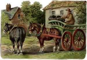 Victorian farm scene, horse drawn wagon clipart, old fashioned farmer, vintage farm clip art free, coal wagon image