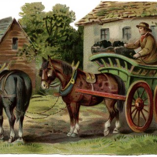 Horse Drawn Coal Wagon ~ Free Victorian Farm Scene Clip Art