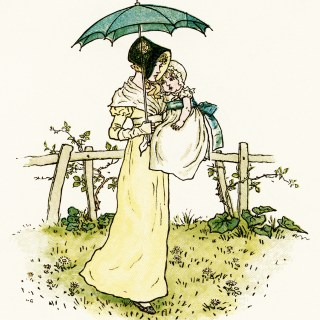 Kate Greenaway Mother and Baby Girl ~ Free Vintage Storybook Image