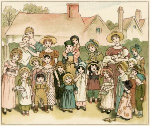 Kate Greenaway, street show, vintage storybook image, children's printable, Victorian people story illustration