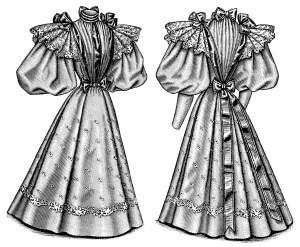 Edwardian fashion illustration, Victorian ladies fashion clip art, vintage dress image, black and white clip art, antique ladies costume printable