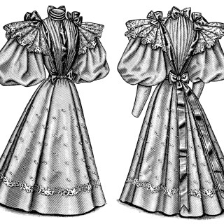 Victorian Ladies' Costume ~ Free Vintage Fashion Clip Art