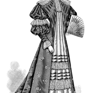 Victorian Ladies' Tea Gown 1895 ~ Free Clip Art