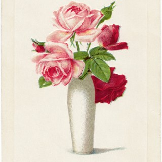 Pink and Red Roses in Vase Sincere Greetings Postcard ~ Free Vintage Image