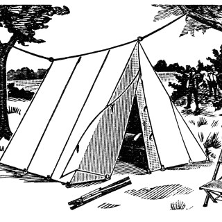 Old Fashioned Rope Ridge Wedge Tent ~ Free Catalogue Ad and Clip Art