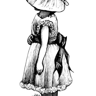 Victorian Girl with Large Bonnet ~ Free Vintage Clip Art