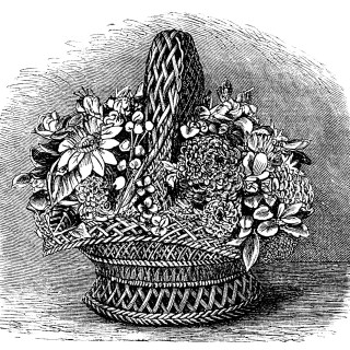 Basket of Shell Flowers ~ Free Vintage Clip Art