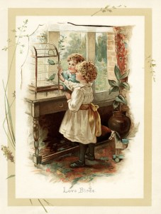 vintage storybook illustration, love birds, Victorian children feed birds, boy girl bird image, sunbeams and me, vintage children printable