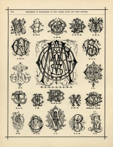 aged book page digital, specimens of monograms, vintage monogram clip art, fancy monogram, elegant alphabet design