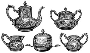 Victorian tea set, antique teapot, vintage tea clip art, black and white graphics, tea party clipart