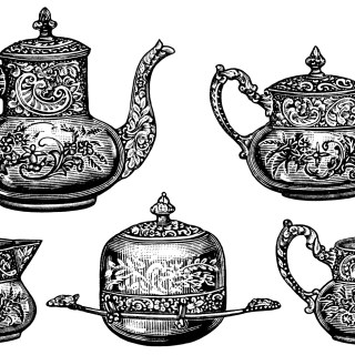 Five Piece Tea Set ~ Free Antique Clip Art