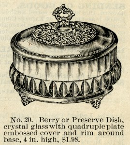 berry preserve dish, vintage catalog ad, black and white graphics free, vintage kitchen clip art, antique crystal glass dish clipart
