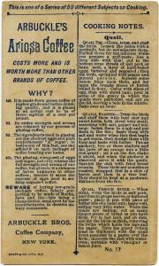 Victorian trade card, vintage advertising card, quail clipart, free vintage ephemera, arbuckle ariosa coffee