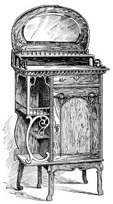 Victorian furniture illustration, black and white graphics, vintage furniture clipart, music cabinet clip art, antique furniture engraving