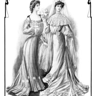 Bride and Bridesmaid ~ Free Vintage Graphic