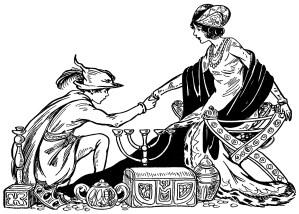 prince princess illustration, black and white graphics, vintage storybook illustration, vintage fairytale clip art