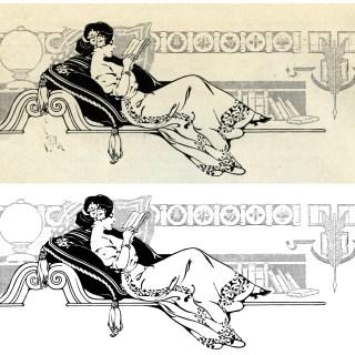 Lady Reading ~ Free Vintage Clip Art