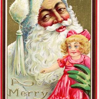 Santa Holding Doll ~ Vintage Postcard Image