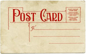 grunge paper graphic, old paper image, shabby postcard digital, Victorian ephemera free, vintage postcard back red green