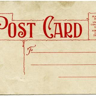 Green Red Postcard Backs ~ Free Vintage Graphics