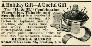 free black and white clip art, pincushion illustration, old magazine ad, vintage sewing clip art, pincushion thimble thread printable