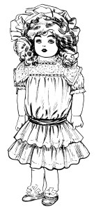 vintage doll clip art, Victorian toys illustration, black and white clip art, antique dolls graphics, old fashioned dollies