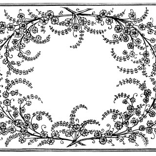Frame of Flowers and Leaves ~ Free Vintage Clip Art