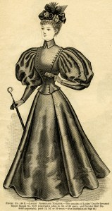 Victorian lady clip art, ladies promenade toilette, black and white illustration, vintage woman clipart, Victorian fashion image, antique clothing graphics