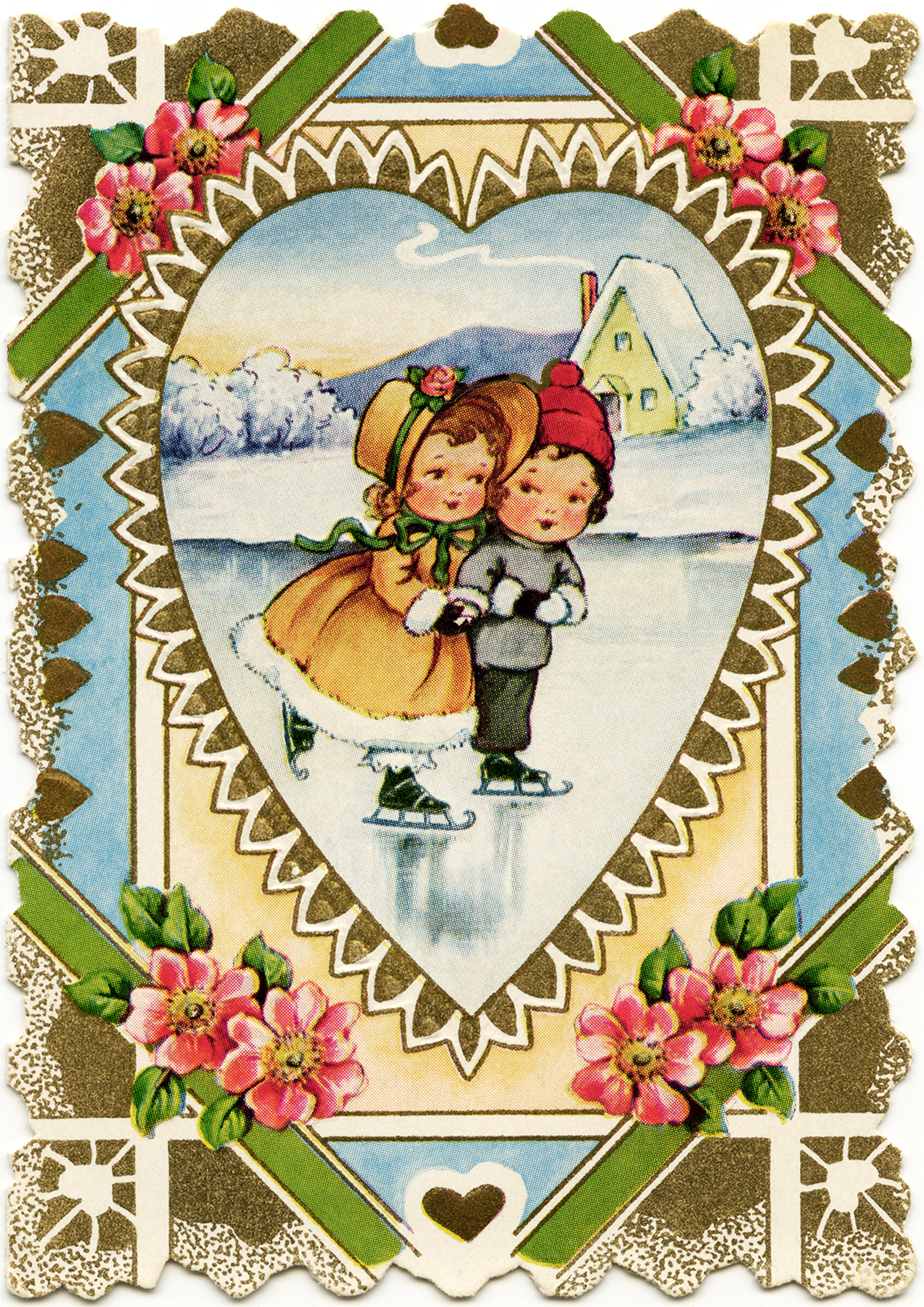 Girl And Boy Skating Free Victorian Valentine Old