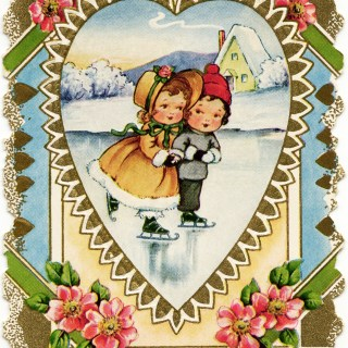 Girl and Boy Skating ~ Free Victorian Valentine