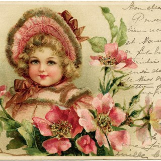 Girl in Pink ~ Free Vintage Postcard Graphics
