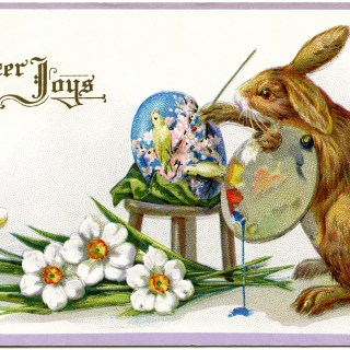easter stecher postcard, easter bunny artist, fantasy easter clip art, vintage easter card, rabbit painting egg