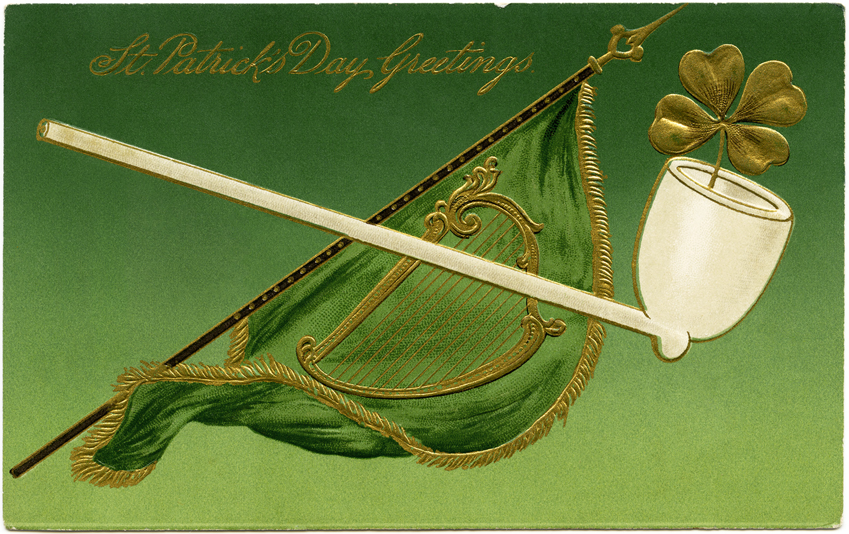 shamrock pipe and flag st patrick�s day postcard old