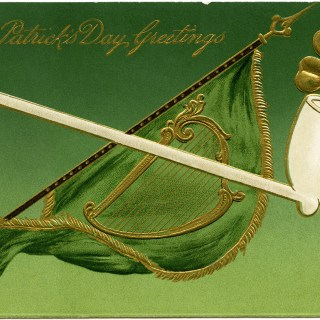 Shamrock, Pipe and Flag ~ St. Patrick's Day Postcard