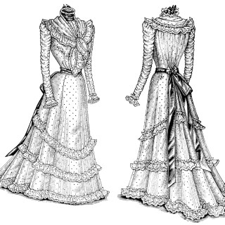 Victorian Ladies' Dresses ~ Free Fashion Clip Art