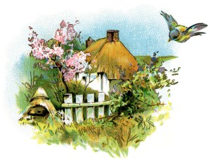 small country cottage clip art, thatched roof cottage illustration, small house printable, vintage home graphics, old fashioned cottage image