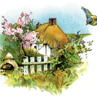 Small Country Cottage ~ Free Vintage Clip Art