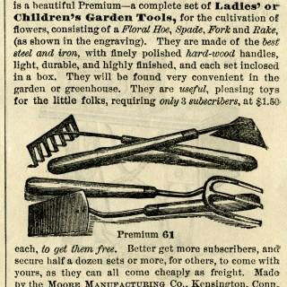 Flower Garden Tools ~ Free Vintage Clip Art