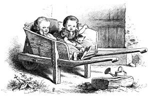 black and white clip art, Oscar pletsch engraving, Victorian girls printable, girls at play vintage clip art, girls in wheelbarrow illustration